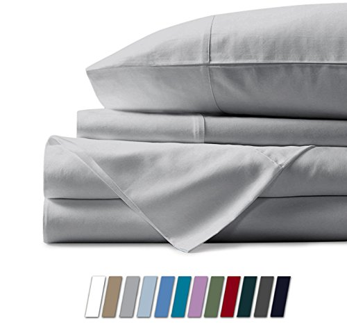 Mayfair Linen 100% Egyptian Cotton Sheets, Silver California King Sheets Set, 600 Thread Count Long Staple Cotton, Sateen Weave for Soft and Silky Feel, Fits Mattress Upto 18'' DEEP Pocket (Difference Between King And California King Bed Sheets)