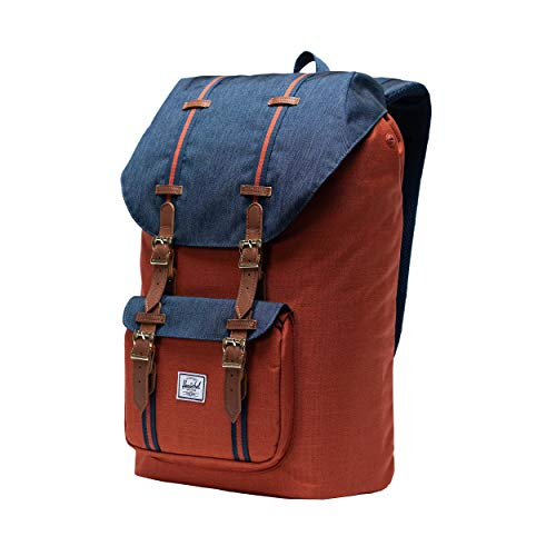 Herschel Little America Laptop Backpack, Indigo Denim/Picante Crosshatch/Tan, Classic 25.0L