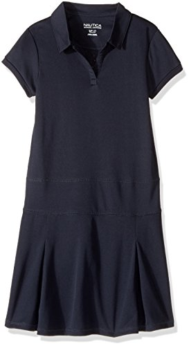 Nautica Girls' Big School Uniform Short Sleeve Polo Dress, Navy/Performance, Large(12/14) (Junior Uniform Dress)