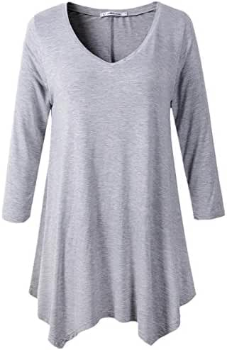JollieLovin Womens Plus Size 3/4 Sleeve V-neck Flare Hem Loose-fit Tunic Top