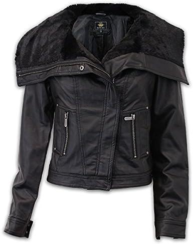 Brave Soul Womens Leather Look Biker Jacket LULUBLACK