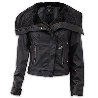 0c040fb41a Brave Soul - Blouson style biker en simili cuir pour femme - Noir -  LULUBLACK,