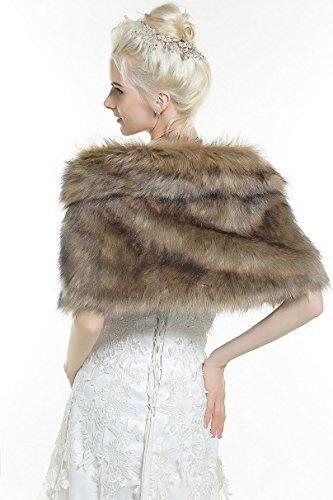 cfa61b8c48 Aukmla Women's Brown Faux Fur Shawl Wedding Fur Wraps and Shawls Bridal Fur  Stole Scarf with