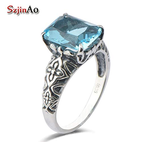 Luxury Wedding Rings for Women | Diana's Engagement Solid 925 Sterling Silver Ancient Aquamarine Rings ()