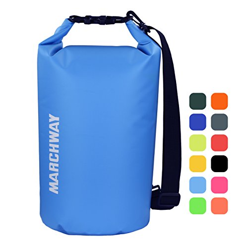 Equipment Travel Bag - MARCHWAY Floating Waterproof Dry Bag 5L/10L/20L/30L, Roll Top Sack Keeps Gear Dry for Kayaking, Rafting, Boating, Swimming, Camping, Hiking, Beach, Fishing (Light Blue, 5L)
