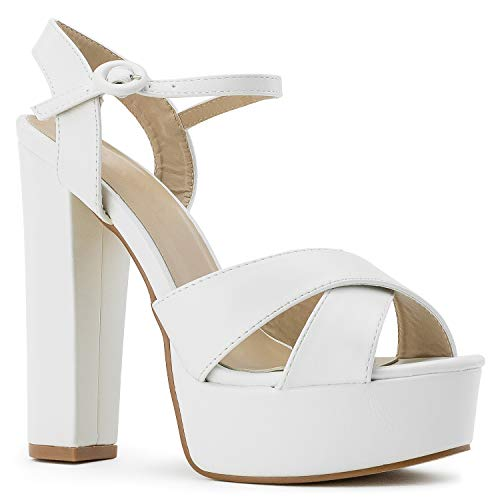 RF ROOM OF FASHION Women's Open Toe Platform Chunky High Heel Dress Pumps Sandals White Size.6.5