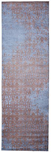 - Mylife Rugs Bergamo Collection Contemporary Modern Non Slip (Non-Skid) Machine Washable Abstract Area Runner Rug (2'7x7'7, Blue-Gold)