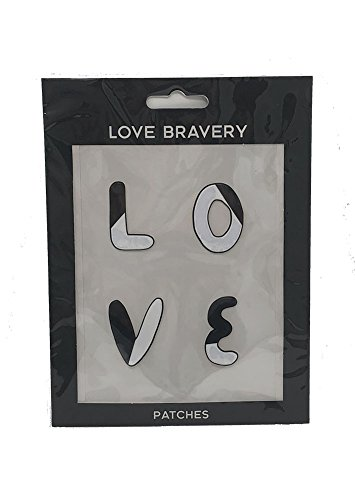 Love Bravery Patch Stickers by Lady Gaga & Elton John, 'LOVE', Black/White