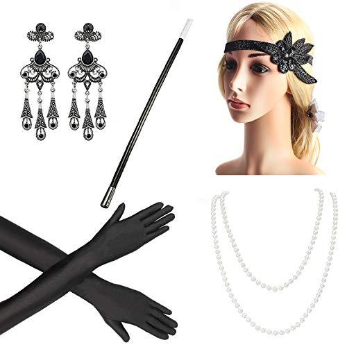 (Beelittle 1920s Accessories Headband Earrings Necklace Gloves Cigarette Holder)