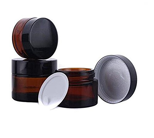 s Jars Empty Refillable Make Up Cosmetic Storage Pot Travel Containers Bottles With White Inner Liners and Black Lids Prefect for Cosmetics and Face Cream Lip Balm Lotion 3PCS ()