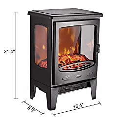 """AMERLIFE Electric Heater 21""""- 3-Sided Freestanding Electric Fireplace Heater with 3D Realistic Log Flame Effect, 1500W Black from AMERLIFE"""