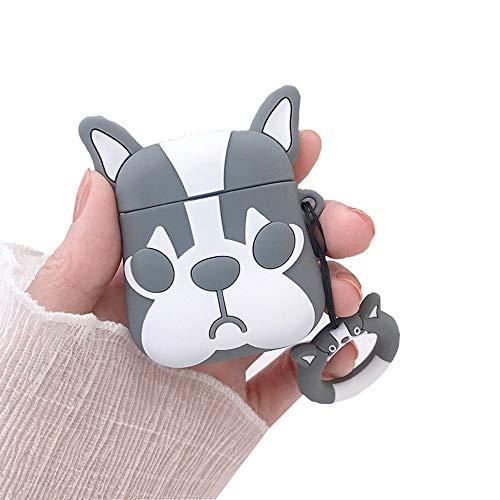 BONTOUJOUR AirPods Case, Super Cute Creative Cartoon Bulldog Shape TPU Silicone Cover Protective Skin for Apple AirPods 1&2+Finger Lanyard-Grey