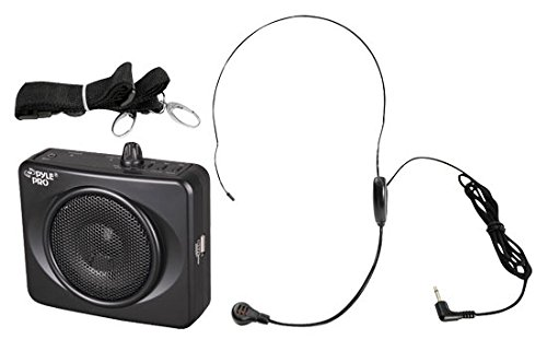 PYLE-PRO PWMA60UB 50 Watts Portable USB Waist-Band PA System with Headset Microphone, Rechargeable Batteries (Color Black) Pro Microphone System