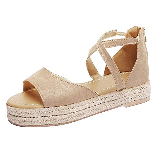 SNIDEL Women¡¯s Platform Sandals Peep Toe Flat Wedge Strappy Sandal Summer Casual Espadrille Shoes Beige 9.5 B (M) US