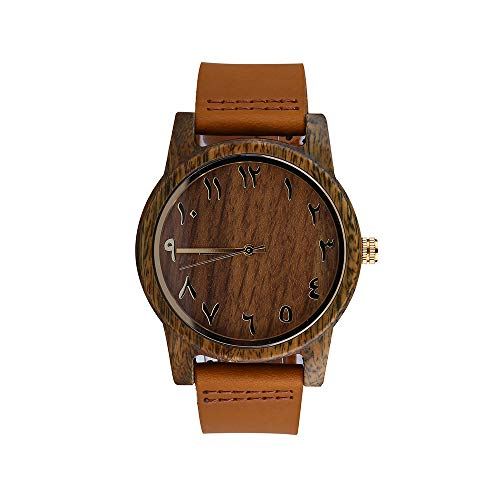 Wooden Arabic Numbers Numeral Watches Genuine Leather Band with Quick Release Pins (Light Brown)