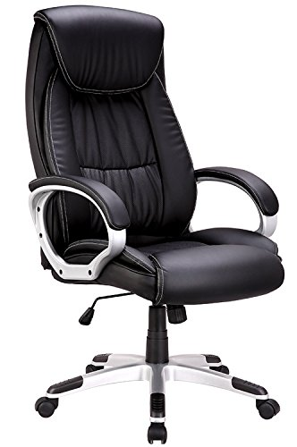 Chair Swivel Back Tilt (IntimaTe WM Heart High-Back Executive Office Chair, Faux Leather Large Seat Computer Desk Chair, Ergonomic Design Adjustable Seat Height, Synchro Tilt Mechanism, 360 Degree Swivel, Black)