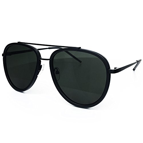 O2 Eyewear 66449 Premium Aviator Vintage Hippie Retro Womens Mens Sunglasses (BLACK LENS, - Hippie Male Fashion