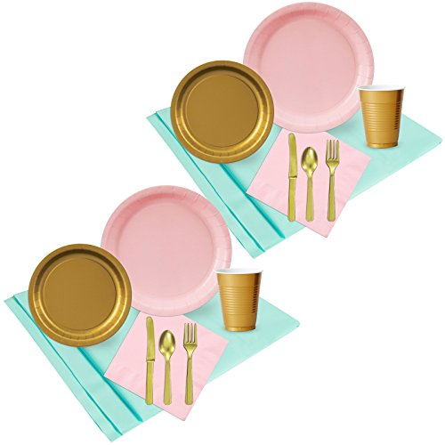 Mint Pink and Gold Party Supplies Party Pack (48)