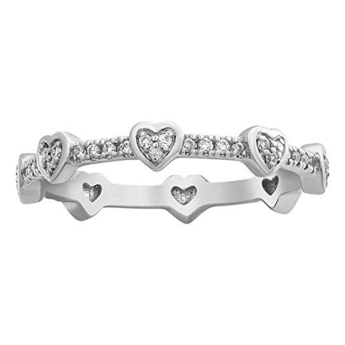 Olivia Paris 1/5 Carat (ctw) 14k White Gold Round Diamond Heart Shape Eternity Ring (H-I, I1) Size 6