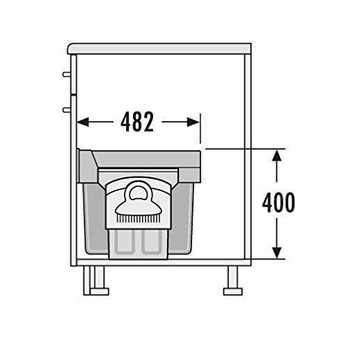 2x 15 Liter Hailo Tandem 7 K Abfallsystem Dreht/ür Vollauszug 40 cm