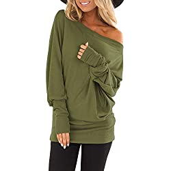 TUSANG Womens Skew Collar Autumn Long Sleeve Print Pure Skew Collar Casual T shirt Tops Blouse Bottom Army Green