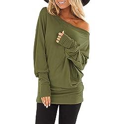 TUSANG Womens Skew Collar Autumn Long Sleeve Print Pure Skew Collar Casual T shirt Tops Blouse Bottom Army Green