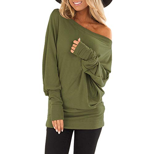 EKIMI Tops Women Off Shoulder Loose Pullover Sweater Batwing Sleeve Knit Jumper Top Blouse, (Y4, L)
