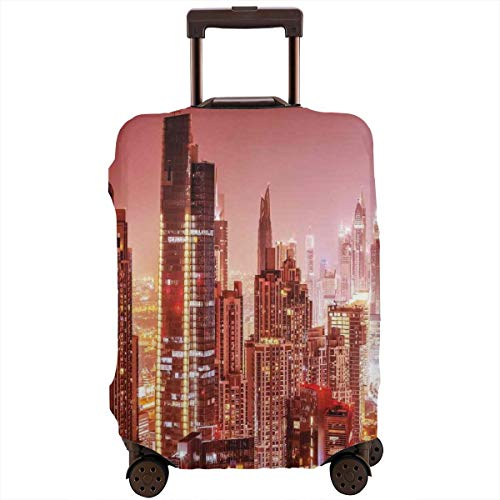 (Travel Luggage Cover,Dubai At Night Cityscape With Tall Skyscrapers Panorama Picture Arabian Peninsula Suitcase)