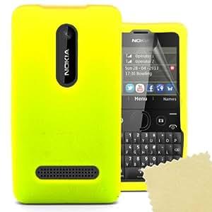 Accessory Master 5055716365306 - Funda con protector de pantalla para Nokia Asha 210 (gel de silicona), color amarillo
