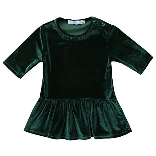 Canis Kids Baby Girls Vintage Style Half Sleeve Velvet Swing Dress Top/Skirt Outfit Set (1-2Y, Green -
