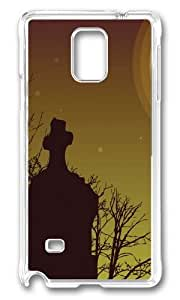 MOKSHOP Adorable Cemetery Sky Hard Case Protective Shell Cell Phone Cover For Samsung Galaxy Note 4 - PC Transparent