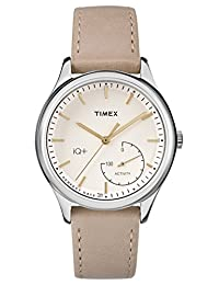 Timex Women's TWG013500l3 Fashion IQ+ Move White Dial and White Leather Strap Additional Silicone Strap Watch