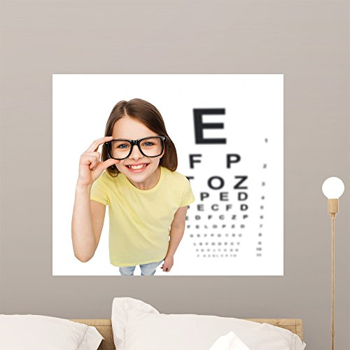 Smiling Little Girl Eyeglasses Wall Mural by Wallmonkeys Peel and Stick Graphic (24 in W x 21 in H) - Size Eyeglass Chart