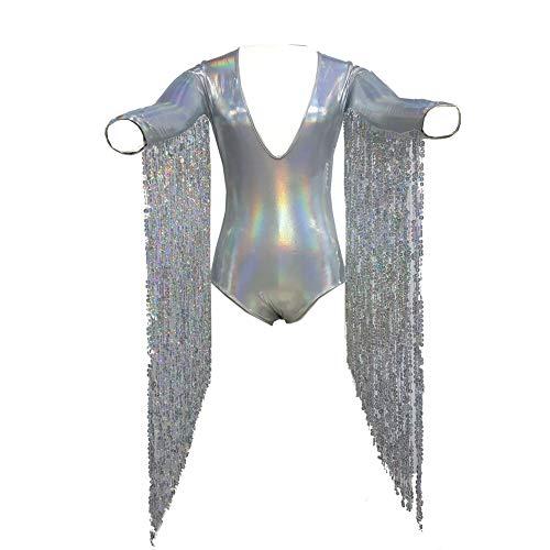 pinda Boho Hippie Festival Rave Holographic Sequin Fringe Burning Man Bodysuit Jumpsuit (S, -