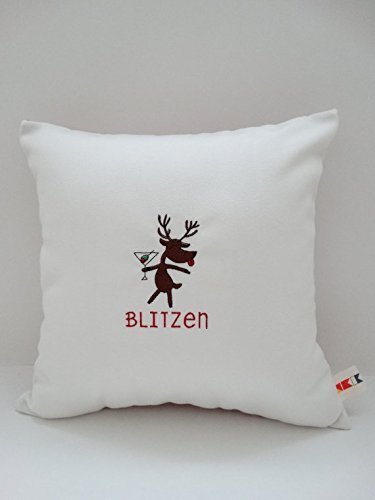 """Sunbrella Canvas Natural 14"""" x 14"""" Embroidered """"Blitzen"""" Christmas Indoor Outdoor Pillow Cover - Custom made by OBA Canvas Co."""