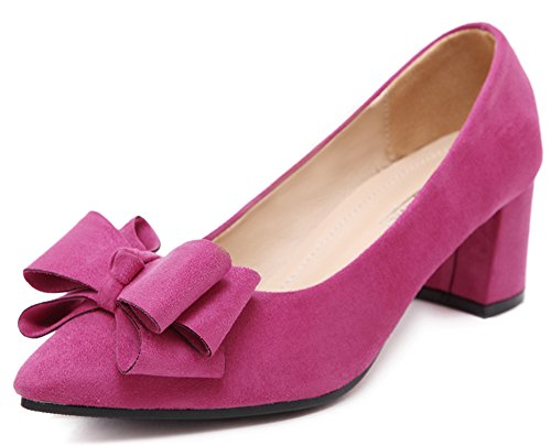 IDIFU Womens Suede Bow Pointed Toe Wide Width Mid Heel Pumps Sandals Rose Red e4ysraEU