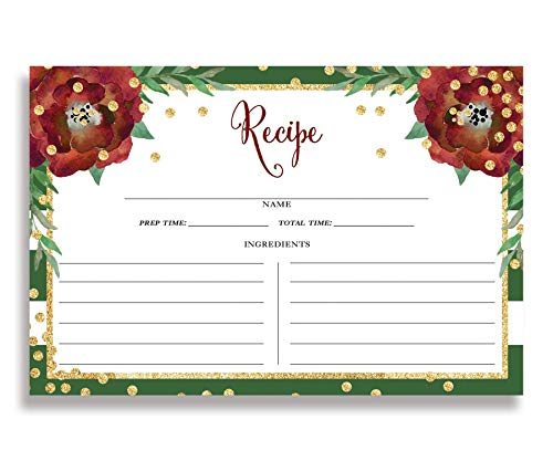 - Floral and Green Stripe Recipe Cards (Set of 25) 4x6 inches. Double Sided Card Stock Recipe Card Set   Katelyn Green
