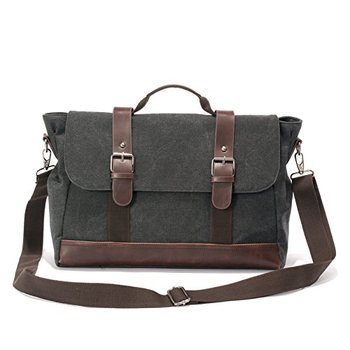 14'' Vintage Canvas Messenger Bag for Men, Shoulder Bag, Laptop Computer Bags