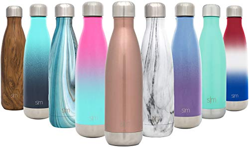 Simple Modern 17 oz Wave Water Bottle - Stainless Steel Swell Hydro Metal Flask - Wide Mouth Double Wall Vacuum Insulated Reusable Pink Small Kids Coffee Leak Proof Thermos -Rose Gold