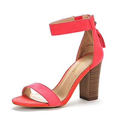 DREAM PAIRS Women's Open Toe Mid Chunky Heel Pump Sandals