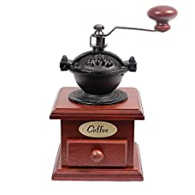 Cherry Wood Cast Iron Coffee Bean Grinder with Drawer by Clever Chef | Adjustable Coffee Grinder for the Perfect Morning Coffee | Maximum Flavor Coffee Grinder With Convenient Drawer