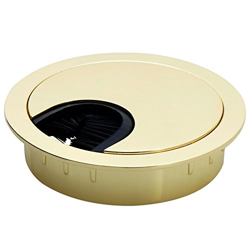 Gold Polished Lock (Polished Brass Metal Cable Grommet - 2 Piece