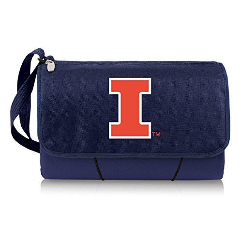 NCAA Illinois Fighting Illini Outdoor Picnic Blanket Tote, Navy (Fighting Illini Blanket)
