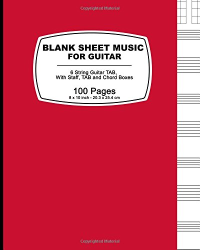 Blank Sheet Music For Guitar: Red Cover,100 Blank Manuscript Music Pages with Staff, TAB and Chord Boxes (Guitar Blank Sheet Music compare prices)