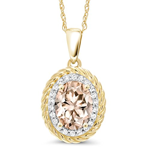 Si1 Si2 Loose Diamonds - 1.15 Ct Oval Peach Morganite White Diamond 14K Yellow Gold Pendant