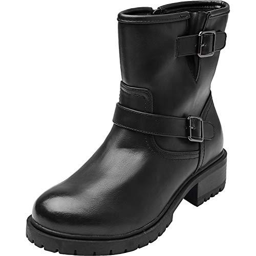 (Women's Wide Width Mid Calf Boots - Motorcycle Buckle Mid Low Heel Side Zipper Westwood Booties.(180717,Black,9.5WW))