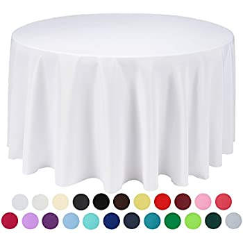Etonnant VEEYOO 120 Inch Round Solid Polyester Tablecloth For Wedding Restaurant  Party, White