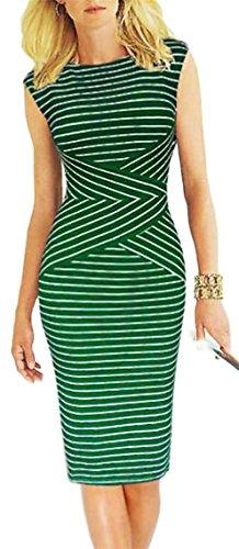Jaycargogo Femmes Manches Courtes Usure Rayé Travailler Robe Crayon D'affaires Vert