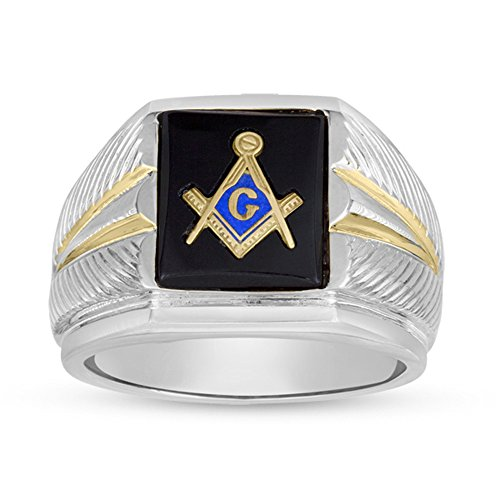 Black Onyx Masonic Ring (Men's Two Tone 12x10 Rectangle Black Onyx Masonic Ring In Sterling Silver - Size 8)