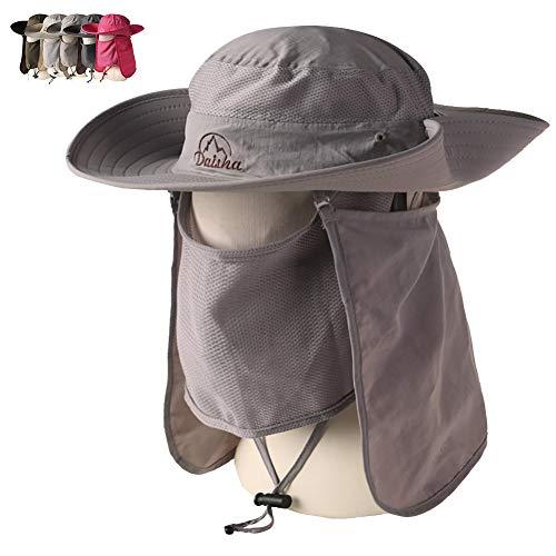 Peicees Wide Brim Fishing Sun Hat Cowboy Bonnie Bucket Hat Safari Cap with Detachable Neck and Face Flap for Men Women Girls and Boys(Light Gray)